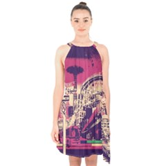 Pink City Retro Vintage Futurism Art Halter Collar Waist Tie Chiffon Dress