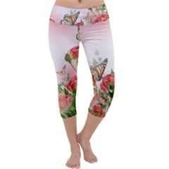 Flora Butterfly Roses Capri Yoga Leggings