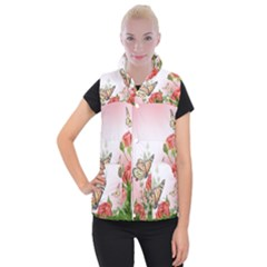 Flora Butterfly Roses Women s Button Up Puffer Vest