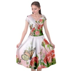 Flora Butterfly Roses Cap Sleeve Wrap Front Dress by BangZart