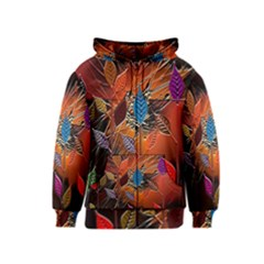 Colorful Leaves Kids  Zipper Hoodie