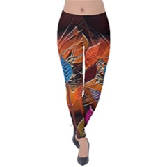 Colorful Leaves Velvet Leggings