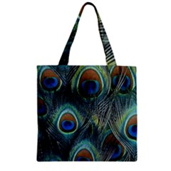 Feathers Art Peacock Sheets Patterns Zipper Grocery Tote Bag by BangZart