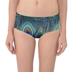 Feathers Art Peacock Sheets Patterns Mid Waist Bikini Bottoms