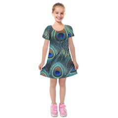 Feathers Art Peacock Sheets Patterns Kids  Short Sleeve Velvet Dress by BangZart