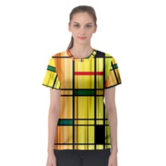 Line Rainbow Grid Abstract Women s Sport Mesh Tee