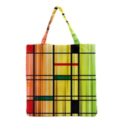Line Rainbow Grid Abstract Grocery Tote Bag