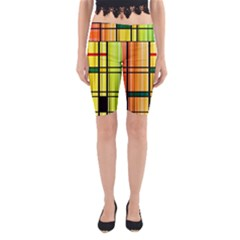 Line Rainbow Grid Abstract Yoga Cropped Leggings