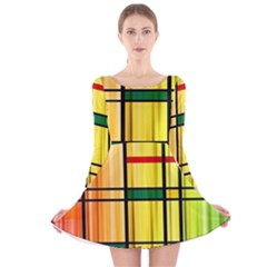 Line Rainbow Grid Abstract Long Sleeve Velvet Skater Dress
