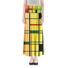Line Rainbow Grid Abstract Full Length Maxi Skirt