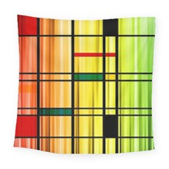 Line Rainbow Grid Abstract Square Tapestry (large)