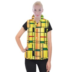 Line Rainbow Grid Abstract Women s Button Up Puffer Vest