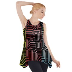 Circuit Board Seamless Patterns Set Side Drop Tank Tunic