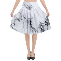 Marble Pattern Flared Midi Skirt