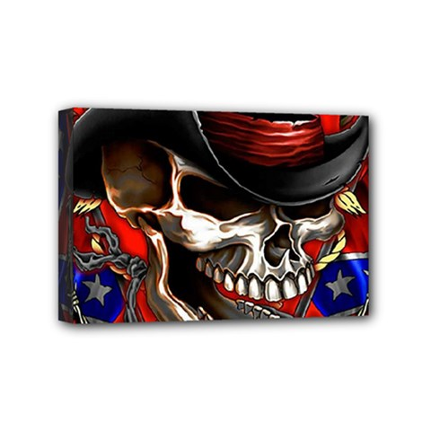 Confederate Flag Usa America United States Csa Civil War Rebel Dixie Military Poster Skull Mini Canvas 6  X 4  by BangZart