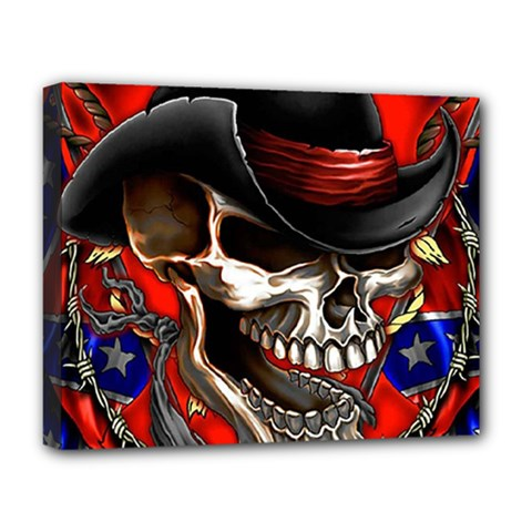 Confederate Flag Usa America United States Csa Civil War Rebel Dixie Military Poster Skull Deluxe Canvas 20  X 16   by BangZart