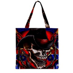 Confederate Flag Usa America United States Csa Civil War Rebel Dixie Military Poster Skull Grocery Tote Bag