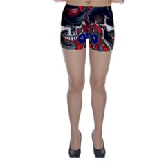 Confederate Flag Usa America United States Csa Civil War Rebel Dixie Military Poster Skull Skinny Shorts