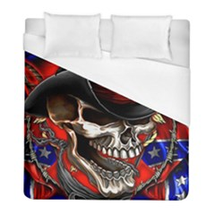 Confederate Flag Usa America United States Csa Civil War Rebel Dixie Military Poster Skull Duvet Cover (full/ Double Size) by BangZart