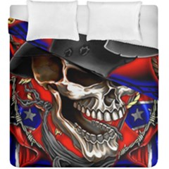 Confederate Flag Usa America United States Csa Civil War Rebel Dixie Military Poster Skull Duvet Cover Double Side (king Size)