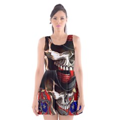Confederate Flag Usa America United States Csa Civil War Rebel Dixie Military Poster Skull Scoop Neck Skater Dress by BangZart