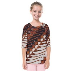 Traditional Batik Sarong Kids  Quarter Sleeve Raglan Tee