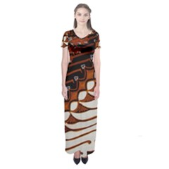 Traditional Batik Sarong Short Sleeve Maxi Dress