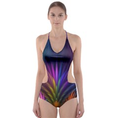 Colored Rays Symmetry Feather Art Cut-out One Piece Swimsuit by BangZart