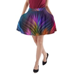 Colored Rays Symmetry Feather Art A Line Pocket Skirt