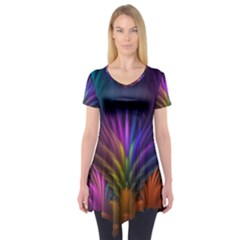 Colored Rays Symmetry Feather Art Short Sleeve Tunic