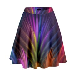 Colored Rays Symmetry Feather Art High Waist Skirt by BangZart
