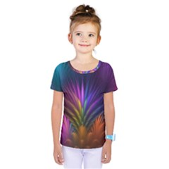 Colored Rays Symmetry Feather Art Kids  One Piece Tee