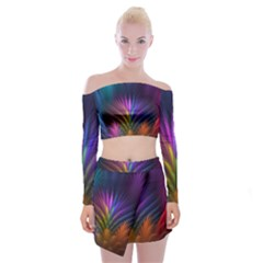 Colored Rays Symmetry Feather Art Off Shoulder Top With Skirt Set