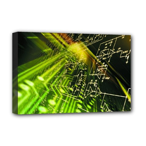 Electronics Machine Technology Circuit Electronic Computer Technics Detail Psychedelic Abstract Patt Deluxe Canvas 18  X 12