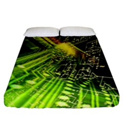 Electronics Machine Technology Circuit Electronic Computer Technics Detail Psychedelic Abstract Patt Fitted Sheet (california King Size) by BangZart
