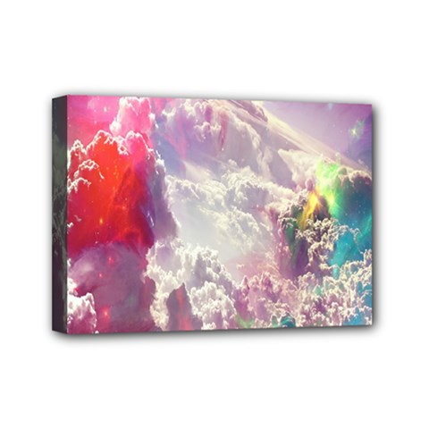 Clouds Multicolor Fantasy Art Skies Mini Canvas 7  X 5  by BangZart