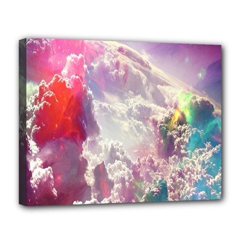 Clouds Multicolor Fantasy Art Skies Canvas 14  X 11