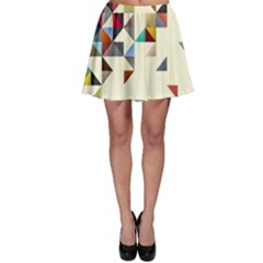 Retro Pattern Of Geometric Shapes Skater Skirt by BangZart