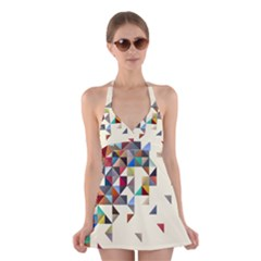 Retro Pattern Of Geometric Shapes Halter Swimsuit Dress
