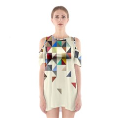 Retro Pattern Of Geometric Shapes Shoulder Cutout One Piece