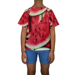 Fresh Watermelon Slices Texture Kids  Short Sleeve Swimwear
