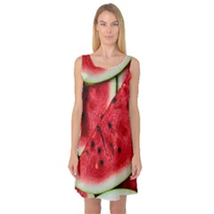 Fresh Watermelon Slices Texture Sleeveless Satin Nightdress by BangZart
