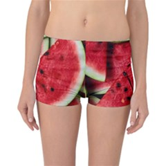 Fresh Watermelon Slices Texture Reversible Boyleg Bikini Bottoms by BangZart