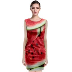 Fresh Watermelon Slices Texture Sleeveless Velvet Midi Dress by BangZart