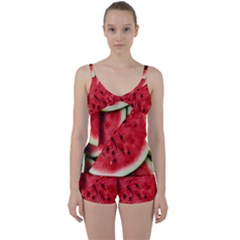 Fresh Watermelon Slices Texture Tie Front Two Piece Tankini