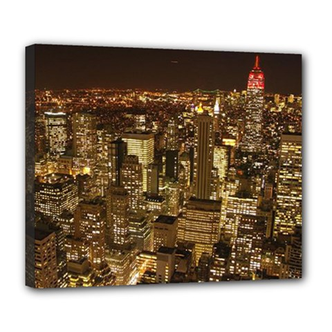 New York City At Night Future City Night Deluxe Canvas 24  X 20   by BangZart