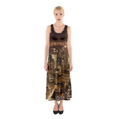 New York City At Night Future City Night Sleeveless Maxi Dress
