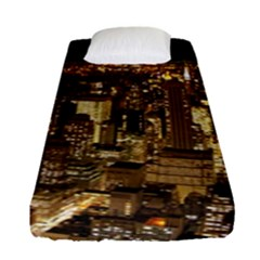 New York City At Night Future City Night Fitted Sheet (single Size)