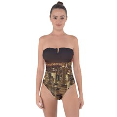 New York City At Night Future City Night Tie Back One Piece Swimsuit