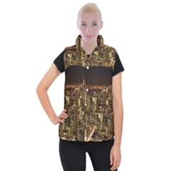 New York City At Night Future City Night Women s Button Up Puffer Vest